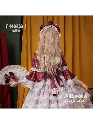 Gingerbread Sugar Golden Long Curly Synthetic Lolita Wig with Bangs by Hengji