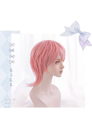Mr. Rabbit Male Version Pink Short Synthetic Lolita Wig with Bangs by Hengji