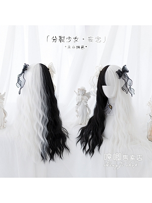 JK Black and White Egg Roll Long Curly Synthetic Lolita Wig with Bangs by Hengji