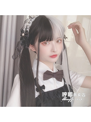 Split Maiden Black and Gray Long Straight Synthetic Lolita Wig with Bangs by Hengji