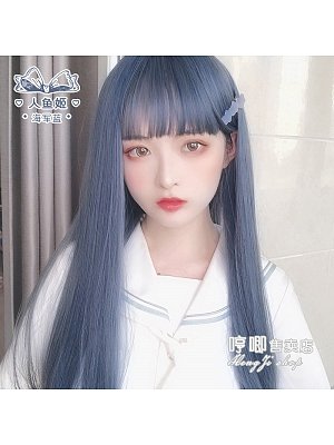 Mermaid Navy Blue Long Staight Synthetic Lolita Wig by Hengji