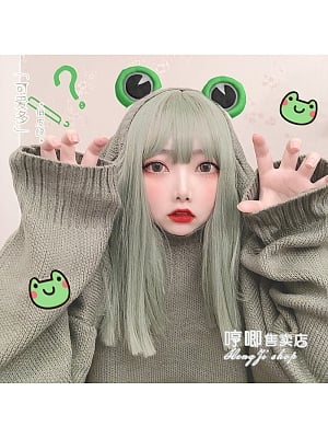 So Much Cuter Green Mid-length Straight Synthetic Lolita Wig by Hengji