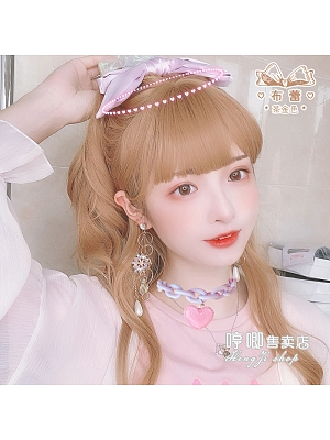 Bree JK Golden Double Ponytail Long Curly Synthetic Lolita Wig with Bangs by Hengji