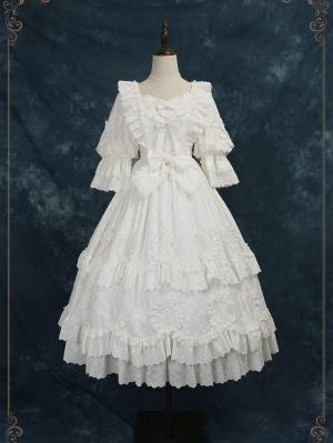 Unheard of First Sight Hanayome Square Neckline 3/4 Sleeves Classic Lolita Dress OP