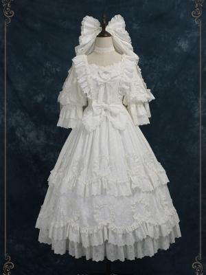 Unheard of First Sight Hanayome Square Neckline 3/4 Sleeves Classic Lolita Dress OP Full Set