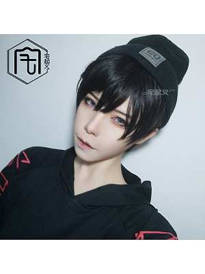 Black Ouji Straight Short Length Handsome Lolita Synthetic Wig