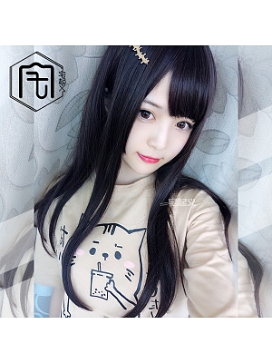 Cute Straight Long Length  Lolita Synthetic Wig with Bangs