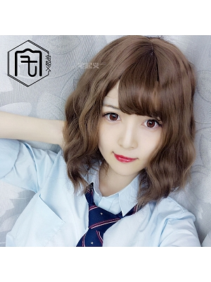 Cute BOBO Short Length Curly Lolita Synthetic Wig with Bangs