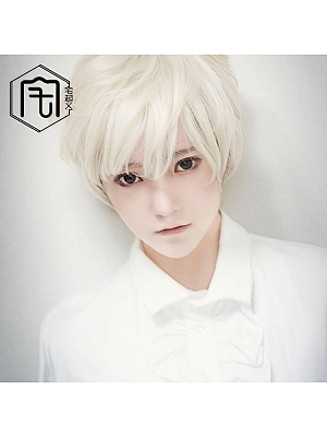 Milk White Ouji Short Length Lolita Synthetic Wig with Bangs