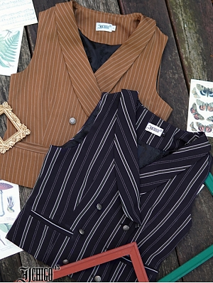 Custom Size Available Autumn Puzzle Vintage Vest by Ichigo