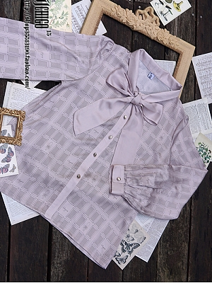 Custom Size Available Autumn Puzzle Bowknot Tie Shirt by Ichigo