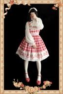 Sweet Strawberry Lolita Dress Cotton Red Plaid Strawberries Print Lolita JSK by Infanta