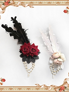 Feathers Pearls Chain Rose Brooch by Infanta