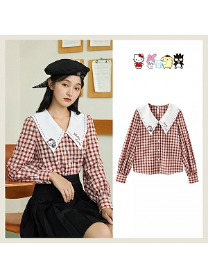 Sanrio Authorized Hello Kitty Pointed Collar Long Sleeves Plaid Shirt