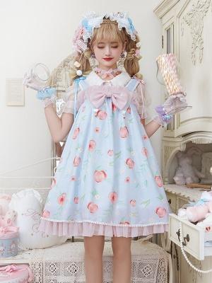 Peach Jelly Square Neckline Sweet Lolita Dress JSK / Shirt Full Set by JIA HUI