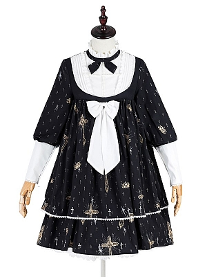 Sacred Heart Cross High Neck Long Sleeves Elegant Gothic Lolita Dress OP by JIA HUI