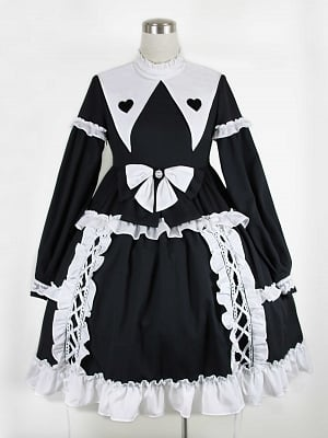 Day and Night Forest Pointed Collar Long Sleeves Elegant Gothic Lolita Dress OP / KC Set by JIA HUI