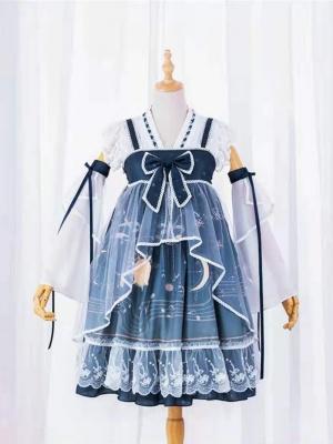 Moon Starry Sky Square Neckline Wa Lolita Dress JSK Full Set by JIA HUI
