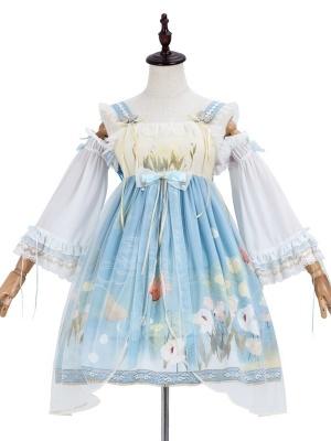 Poplar Papilio Square Neckline Wa Lolita Dress JSK / Wristcuffs Set by JIA HUI