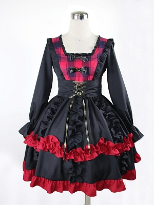 Rose Maiden Square Neckline Long Sleeves Elegant Lolita Dress OP Set by JIA HUI