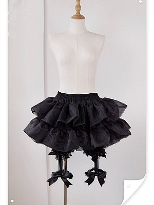 Black  / White Elastic Waist Thigh-length Bloomers Petticoat