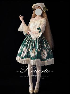Siren Off-the-shoulder Neckline Trumpet Sleeves Vintage Lolita Blouse by Krncrlo