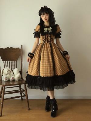 Pumpkin Pie Round Neckline Short Sleeves Halloween Gothic Lolita Dress OP