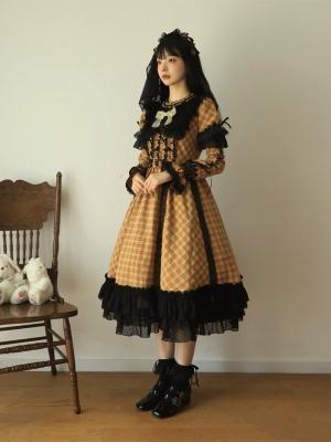 Pumpkin Pie Gothic Lolita Dress Matching Sleeves / Wristcuffs / Headpiece Full Set