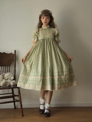 Love at First Sight Stand Collar Short Puff Sleeves Sweet Lolita Dress OP