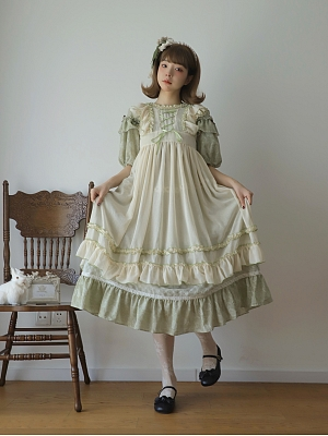 Green Gable Square Neckline Classic Lolita Overdress