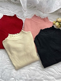 4 Colors Round Neckline Long Sleeves Knitted Top