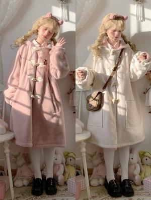 Reversible Long Sleeves Plus Velvet Hooded Coat