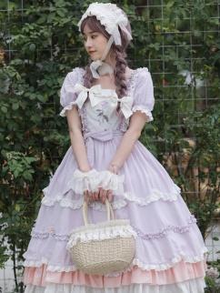 Endless Summer Square Neckline Short Sleeves Sweet Lolita Dress OP by Little Bird