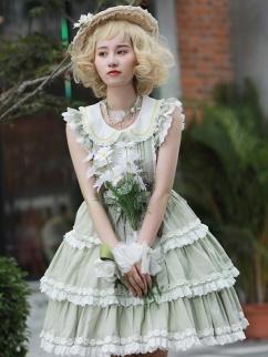 Midsummer Daisy Peter Pan Collar Short Ruffled Sleeves Sweet Lolita Dress OP by Little Bird