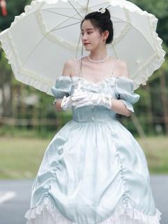 Cinderella Square Neckline Short Puff Sleeves Elegant Lolita Dress OP by Little Bird