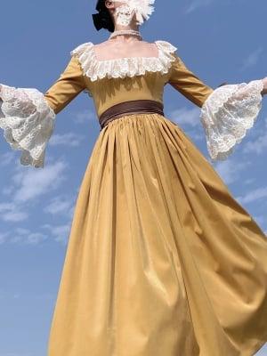 Trumpet Sleeves Square Neckline Vintage Dress by Lady Capricorn