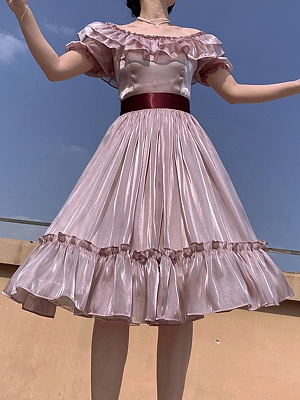Shiny Pink Off-the-shoulder Vintage Dress by Lady Capricorn