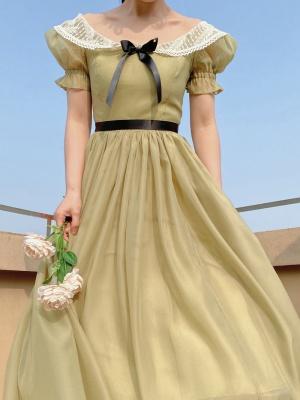 Organza Off-the-shoulder Vintage Elegant Dress by Lady Capricorn
