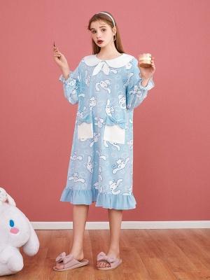 Sanrio Authorized Cinnamoroll Peter Pan Collar Long Sleeves Nightgown by LEDiN