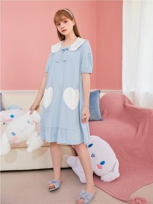 Sanrio Authorized Cinnamoroll Peter Pan Collar Short Sleeves Nightgown by LEDiN