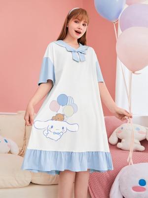 Sanrio Authorized Cinnamoroll Navy Collar Short Sleeves Nightgown by LEDiN