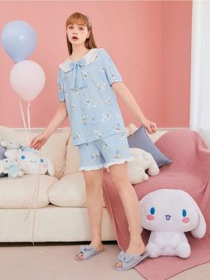 Sanrio Authorized Cinnamoroll Pajamas Ruffled Peter Pan Collar Short Sleeves Top / Shorts by LEDiN