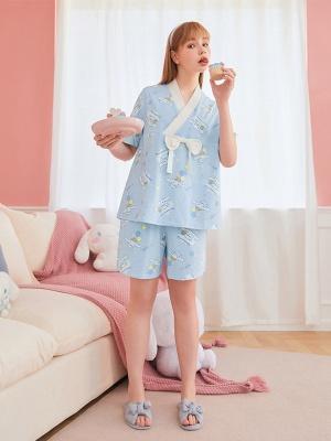 Sanrio Authorized Cinnamoroll Pajamas Kimono Short Sleeves Top / Shorts by LEDiN