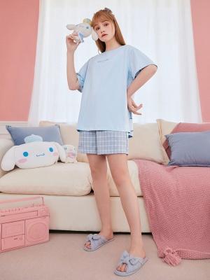 Sanrio Authorized Cinnamoroll Pajamas Round Neckline Short Sleeves Top / Shorts by LEDiN