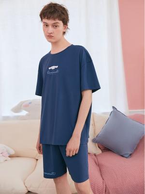 Sanrio Authorized Cinnamoroll Men's Pajamas Round Neckline Short Sleeves Top / Shorts by LEDiN
