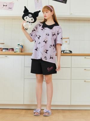 Sanrio Authorized Kuromi Pajamas Clown Collar Short Sleeves Top / Shorts by LEDiN