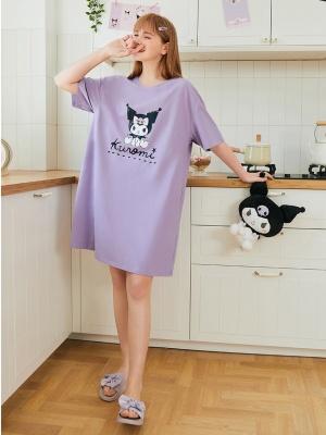 Sanrio Authorized Kuromi Round Neckline Short Sleeves Nightgown by LEDiN