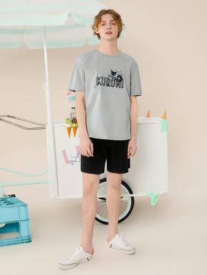 Sanrio Authorized Kuromi Men's Pajamas Round Neckline Short Sleeves Top / Shorts by LEDiN