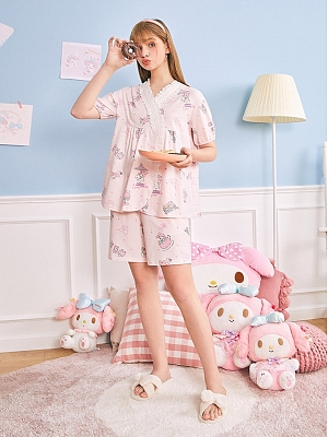 Sanrio Authorized My Melody  Pajamas V-neck Short Sleeves Top / Shorts by LEDiN
