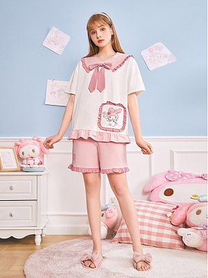 Sanrio Authorized My Melody  Pajamas Navy Collar Short Sleeves Top / Shorts by LEDiN